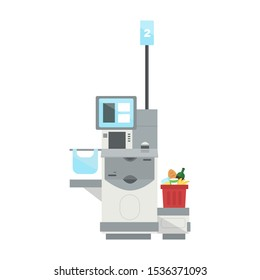 Vector model of Self Checkout Shop Cashier with а full shopping cart. Self service cash device in flat design with cash machine, monitor and scanner.Point with self-service checkout in the supermarket