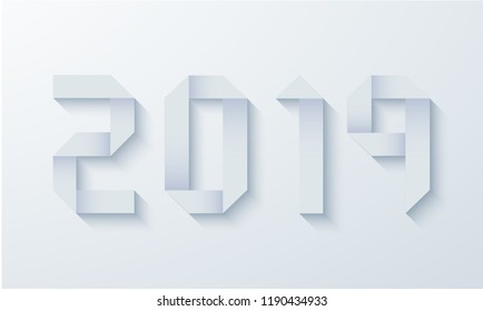 Vector modern 2019 happy new year origami paper background