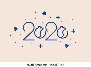 Vector modern 2020 vision template design with rat, mice icons. New year 2020 logo. Seasonal holidays flyers, greetings and invitations cards and christmas themed congratulations and banners.