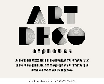 Vector of modern abstract alphabet design uppercase, lowercase, numbers and symbols