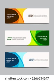 Vector Modern Abstract Banner Design with three different colors. Simple Background Banner Design