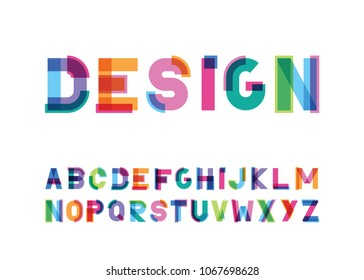 vector of modern abstract color font and alphabet