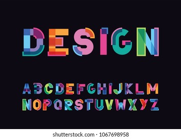 vector of modern abstract color font and alphabet against a dark