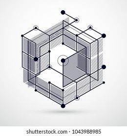 Vector of modern abstract cubic lattice lines black and white background. Layout of cubes, hexagons, squares, rectangles and different abstract elements. Abstract technical 3D background.