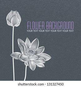 Vector: Modern abstract flower blue-gray background, with space for title text