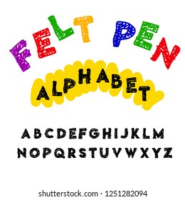 Vector of modern abstract font and alphabet. Children ABC with letters drawn by a felt-tip pen.