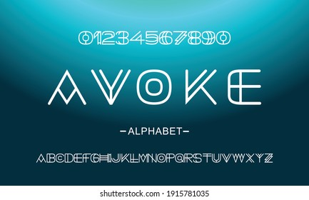 Vector of modern abstract font and alphabet. Geometric technology font. Modern futuristic design letters and numbers. Vector font for logo