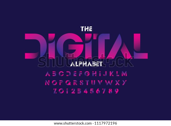Vector of modern abstract font and alphabet