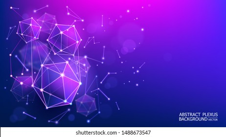 Vector. Modern abstract futuristic blue background. Complex geometric shapes. 3d hexagons. Blur effect. Microbiology and medicine. The genetic structure of an atom. Template for design projects.
