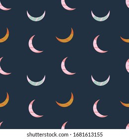 Vector modern abstract Moon crescent set. Ornamental cosmic design. Space seamless pattern.
