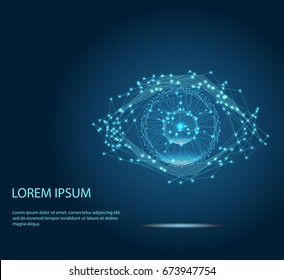 Vector of modern abstract polygonal background. Digital vision - vector logo template concept illustration. Abstract human eye creative sign. Security technology and surveillance. Design element