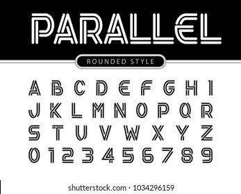 Vector of Modern Alphabet Letters and numbers, Parallel lines stylized rounded fonts, Double line for each letter, Minimal Letters set for Futuristic, Bold Font Trendy Style English