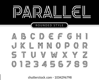 Vector of Modern Alphabet Letters and numbers, Parallel lines stylized rounded fonts, Double line for each letter, Minimal Letters set for Futuristic, Normal Font Trendy Style English
