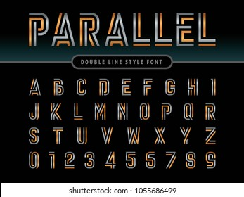 Vector of Modern Alphabet Letters and numbers, Parallel lines stylized rounded fonts, Double line for each letter, Minimal Letters set for Futuristic, Condensed Gold Letters set for sci-fi, military.