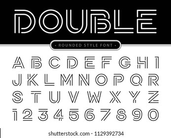 Vector of Modern Alphabet Letters and numbers, Parallel lines stylized rounded fonts, Double Line for each letter, Minimal Thin Letters set for Futuristic, sci-fi, Technology, Hi-tech, digital