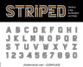 Vector of Modern Alphabet Letters and numbers, Triple Line Stripes Font, Parallel stylized, Three Lines for each letter, Condensed  Letters set for Fashion, Futuristic, Technology, Party, Gift Ribbon