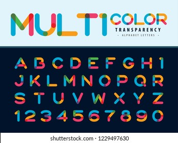 Vector of Modern Alphabet Letters and numbers, Multicolor transparency Rounded Font, Overlay stylized letter, Minimal Letters set for Fashion, Futuristic, Colorful, Anniversary, Celebration, Ceremony