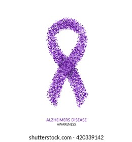 Vector modern ALZHEIMERS DISEASE awareness circles desigen. Purple ribbon isolated on white background