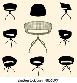 vector modern armchair silhouette set