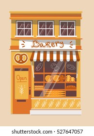 Vector modern bakery shop detailed facade background in flat style, with big bagel  sticker