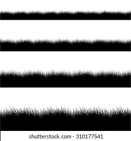Vector modern black grass silhouette set on white background