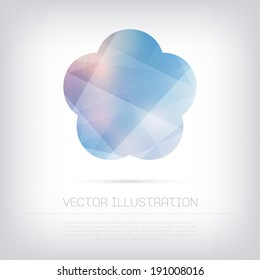 Vector modern blue flower icon with colorful trendy and modern polygonal texture