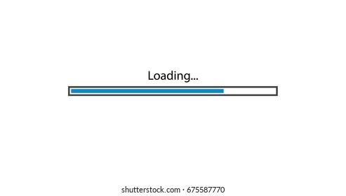 vector modern blue loading bar on white background.