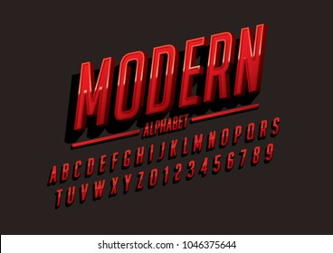 Vector of modern bold font and alphabet