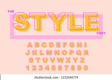 Vector of modern bold font. Dots alphabet. Vintage Alphabet vector 80's, 90's Old style graphic set. Retro Chiseled Alphabet Vector Font. Type letters, numbers. Chiseled block letters
