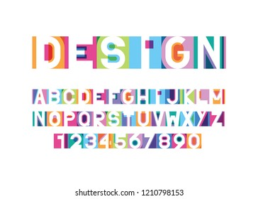 vector of modern bright font and alphabet