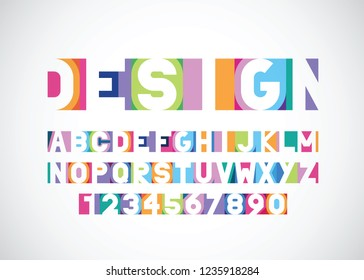 vector of modern bright vibrant font and alphabet