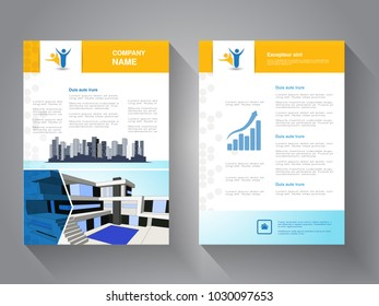 Vector modern brochure, abstract flyer with background of buildings. Modern house. City scene. Layout template. Poster of blue, yellow and white color. Magazine cover.