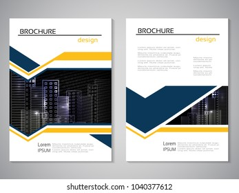 Vector modern brochure, abstract flyer with background of buildings. City scene. Layout template. Poster of blue, yellow and white color. Magazine cover.