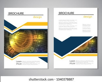 Vector modern brochure, abstract flyer with technology background. Layout template. For A4 size. Poster of blue, yellow and white color. Magazine cover.