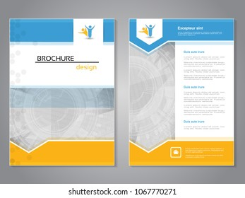 Vector modern brochure, abstract flyer with technology background. Layout template. Aspect Ratio for A4 size. Poster of blue, yellow and white color. Magazine cover.