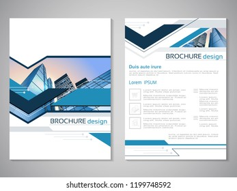 Vector modern brochure, abstract flyer with background of buildings. City scene. Layout template. For A4 size. Poster of blue, grey and white color. Magazine cover.