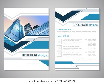 Vector modern brochure, abstract flyer with background of buildings. City scene. Layout template. Aspect Ratio for A4 size. Poster of blue, grey, black and white color. Magazine cover.