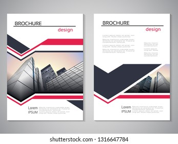 Vector modern brochure, abstract flyer with background of buildings. City scene. Layout template. For A4 size. Poster of red, dark grey, white color. Magazine cover.