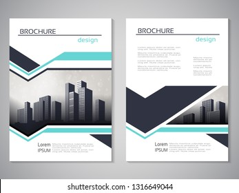 Vector modern brochure, abstract flyer with background of buildings. City scene. Layout template. For A4 size. Poster of cyan, dark grey, white color. Magazine cover.