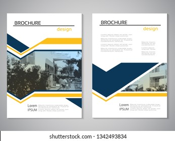 Vector modern brochure, abstract flyer with background of monochrome city street. Layout template. Aspect Ratio for A4 size. Poster of blue, yellow, grey, black and white color. Magazine cover.
