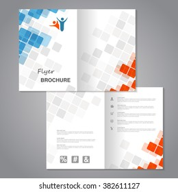 Vector modern brochure, abstract flyer with simple squared design. Aspect Ratio for A4 size. Poster of blue, grey, white and orange color. Layout template, magazine cover.