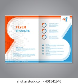 Vector modern brochure, abstract flyer with simple dotted design. Layout template. Aspect Ratio for A4 size. Poster of blue, orange, gray and white color. Magazine cover with human symbol.