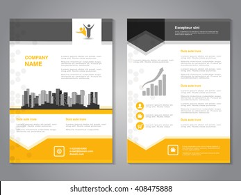 Vector modern brochure, abstract flyer with background of monochrome buildings. Layout template. Aspect Ratio for A4 size. Poster of yellow, grey, black and white color. Magazine cover.