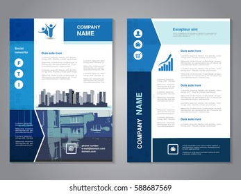 Vector modern brochure, abstract flyer with background of buildings. City scene. Layout template. Poster of blue, grey, black and white color. Magazine cover.