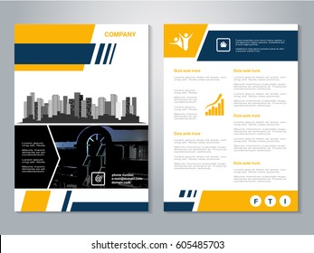 Vector modern brochure, abstract flyer with background of buildings. City scene. Layout template. Poster of yellow, dark blue, black and white color. Magazine cover.