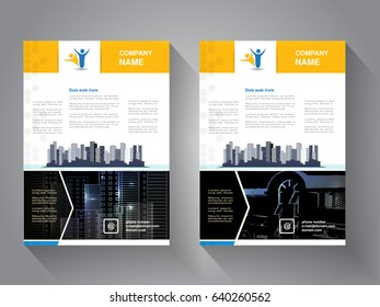 Vector modern brochure, abstract flyer with background of buildings. City scene. Layout template. Poster of blue, yellow, grey, black and white color. Magazine cover.