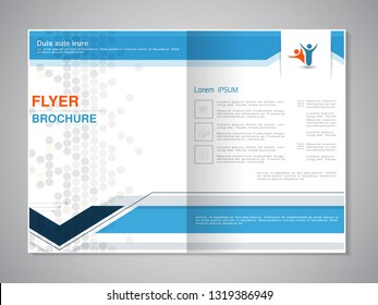 Vector modern brochure. Annual report, flyer with technology background, dotted design. Layout template. Dark blue, blue, orange, grey, white color. Magazine cover. Trendy minimalist geometric design.