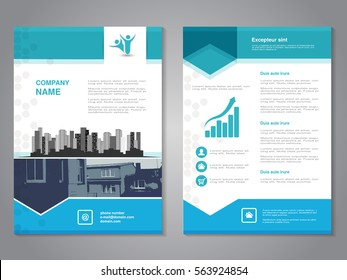Vector modern brochure with arrow design, abstract flyer with background of monochrome buildings. Layout template.
