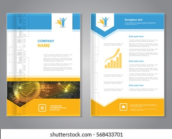 Vector modern brochure with arrow design, abstract flyer with technology background. Layout template. Poster of blue, yellow, grey and white color.