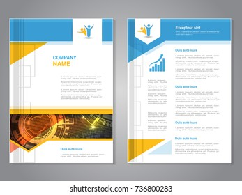 Vector modern brochure with arrow design, abstract flyer with technology background. Layout template. Poster of blue, yellow, red and white color. Magazine cover.